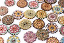 Bohemian Wooden Buttons BOHO Ethnic Tribal Pattern Two Holes Large 25mm 100pcs