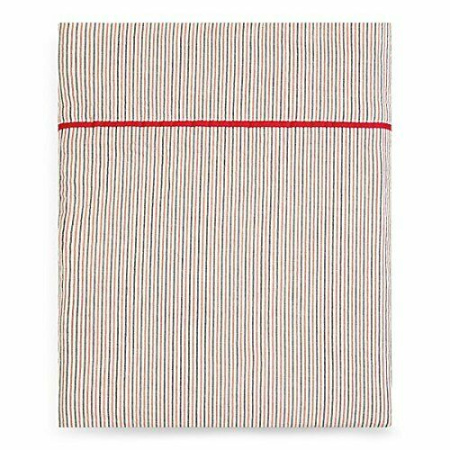 Sonia Rykiel of Paris Königin Striped Flat Sheet Rue Jacob Poppy rot 100% Cotton