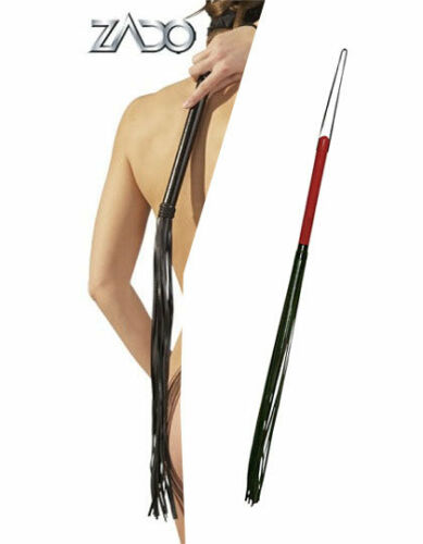Wooden handle with genuine leather tassels Red or Black Zado leather whip lash