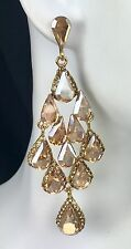 "Elegant! 3"" Long Drop Gold Crystal Earrings, Drag Queen, Pageant, Prom, Bridal"