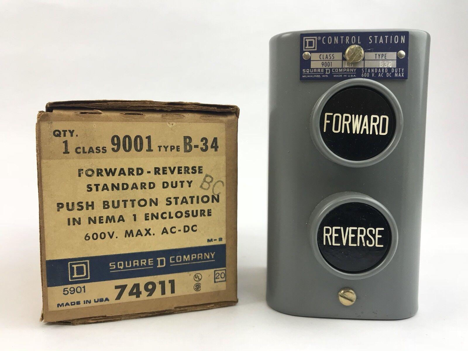 Square D 9001 B-34 Forward-Reverse Push Button Station 600 V Max AC DC
