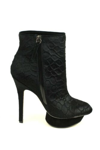 Women Noss BLACK LAMB Pumps Mid Calf Boot Platform Heels NEW Designer L.A.M.B