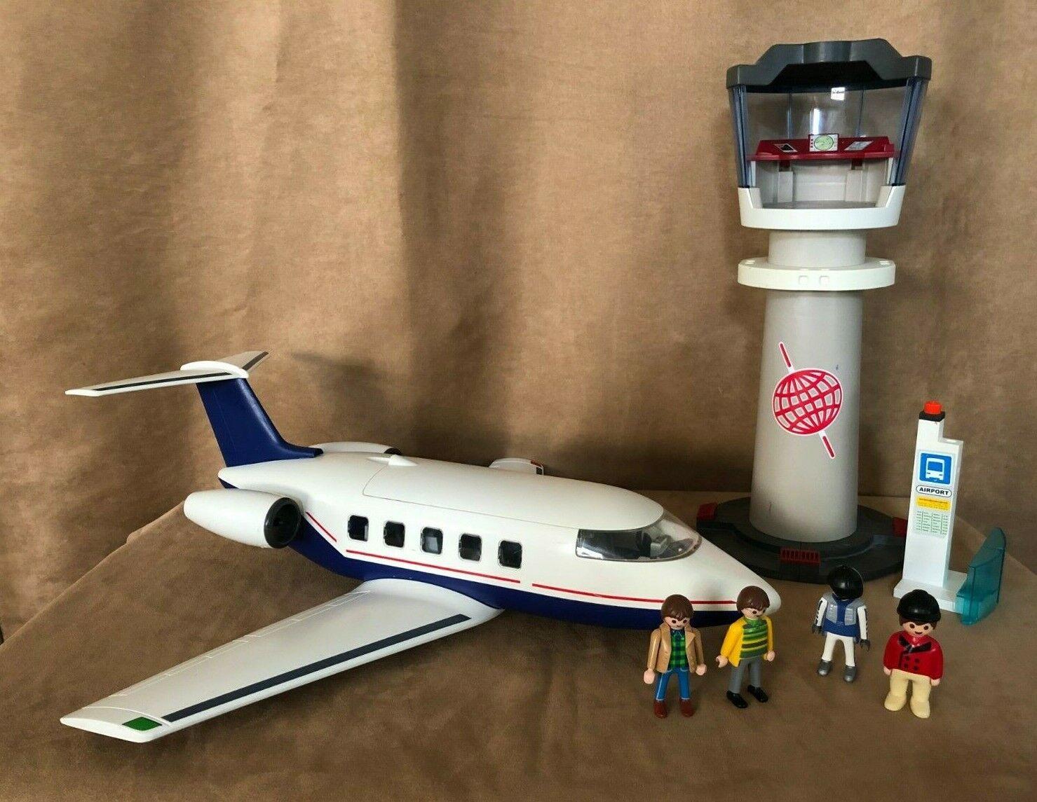 Playmobil Airplane airport control tower lot Geobra Vintage people 5261