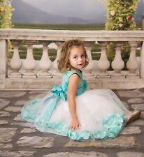 White Flower Girl Dress Rose Petal Junior Bridesmaid Easter Holiday Pageant Kids