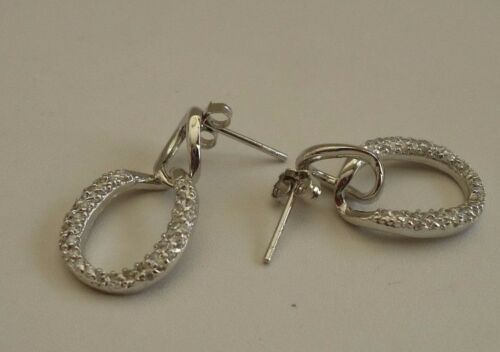 925 STERLING SILVER OPEN CIRCLE DANGLING EARRINGS W// 1 CT ACCENTS //20MM BY 12MM