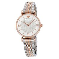 New Emporio Armani White Crystal Pave Dial Silver Rose Gold Ladies Watch AR1926