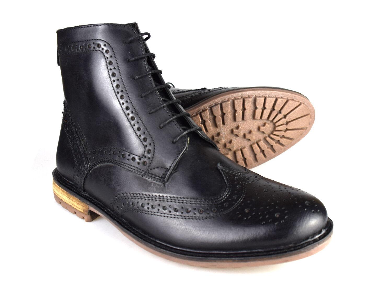 Plata STREET STREET STREET Gerrard cuero negro formal Hombre Botas Estilo Brogue 24d03d