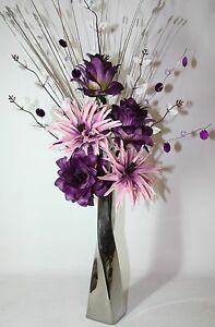 Artificial silk flower arrangement dusky pink purple flowers in image is loading artificial silk flower arrangement dusky pink purple flowers mightylinksfo