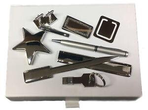 Krawatte-Clip-Manschettenknoepfe-USB-Lesezeichen-Buero-Geld-Stift-Box-Set-Arnie