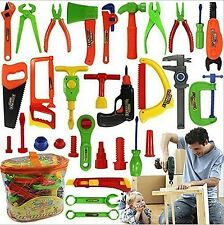 34 pc Pretend Tools Toy Set Kid Learn Play Workshop Toolbox Workbench Children