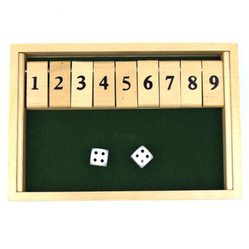 Wooden Shut the Box Board Game Circa Vintage Style Drinking Pub Dice Game Set US