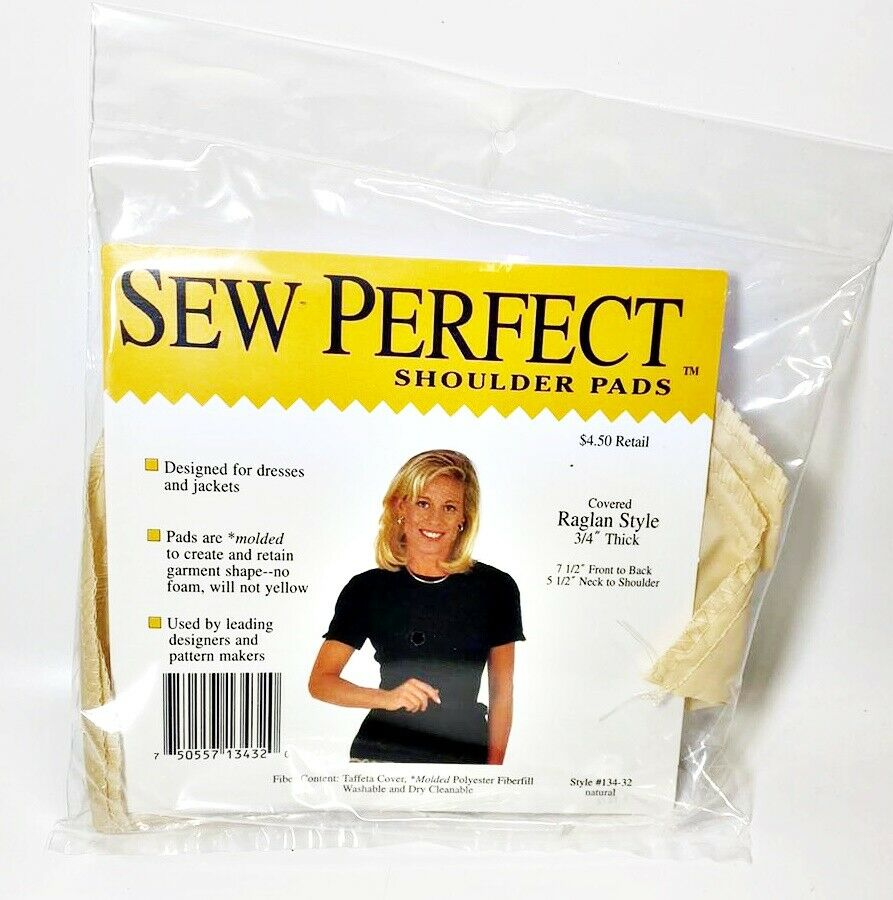 Lot of 2 Sew Perfect Shoulder Pads Raglan Style, 3/4 Thick, Natural