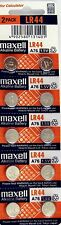 LR44 Maxell (10 piece) LR44 MAXELL A76 L1154 AG13 357 New Alkaline Battery