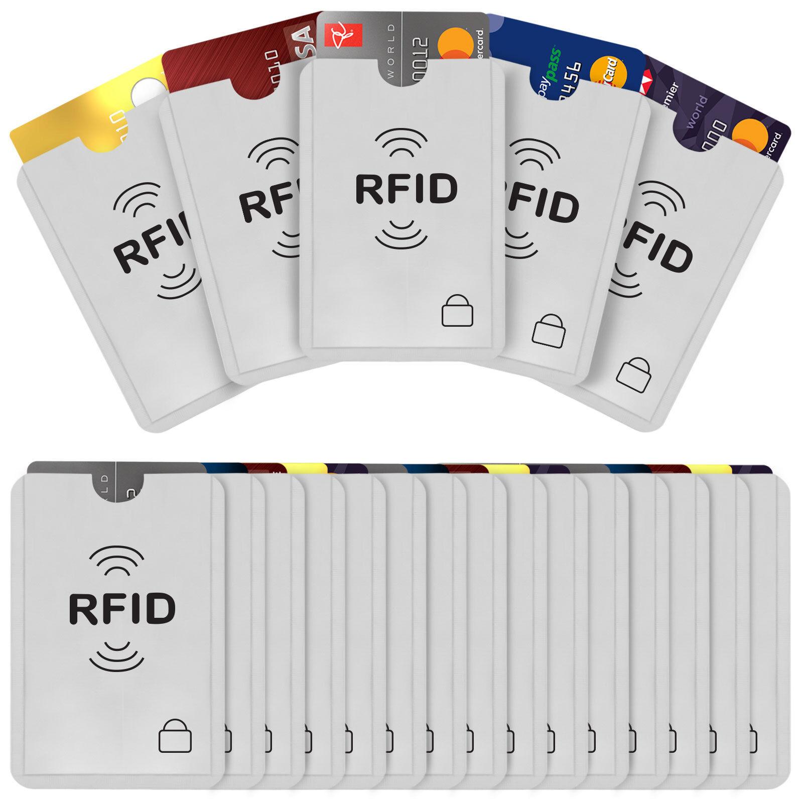 20 Pack RFID Blocking Slim Credit Debit Card Holder Sleeves Travel Wallet