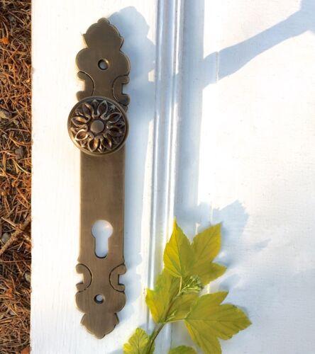 Halbgarnitur für Haustür PZ 92 Schmaler Türknauf mit Langschild Messing-antik