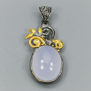 Vintage16ct-Natural-Chalcedony-925-Sterling-Silver-Pendant-NP08211