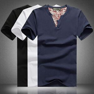 12b1284cfce Plus Size Men s V-Neck T-shirt Short Sleeve Korean Stylish Floral ...