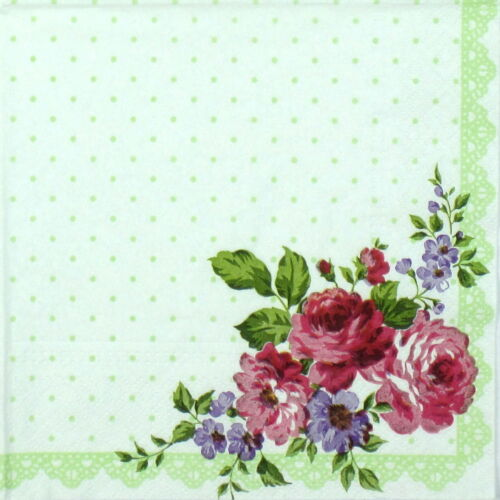 4x Paper Napkins for Decoupage Decopatch Craft Flower Bouquet in the corner