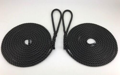 14mm schwarzes Nylon Liegeplatz Seil,2 x 4 Meter,Boote,Yachten,Linien,weich auge