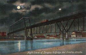 Postcard-Night-Scene-Douglas-St-Bridge-and-Smelter-Omaha-Nebraska