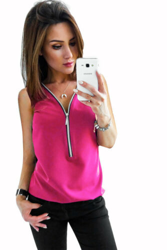 Womens Ladies Zip Up Cami Chiffon Stylish Blouse Vest Tee Pullover Tops 10-20