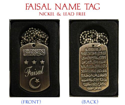 "Birthday Wedding Ayatul Kursi Eid Gifts /""FAISAL/"" Mens Arabic Name Necklace Tag"