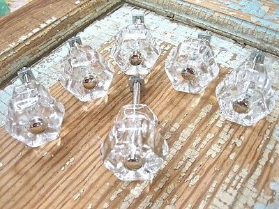 SHABBY N CHIC CLEAR  GLASS KNOBS ( SET OF 6 ) * FURNITURE APPLIQUES & HARDWARE