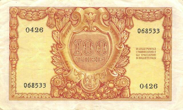 Italy  100  Lire  31.12.1951  P 92a  Series  0426  Circulated Banknote #3LB