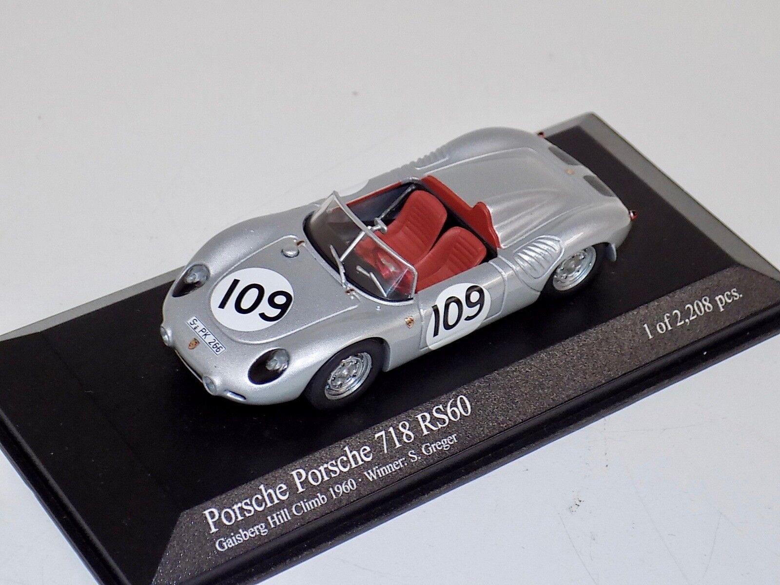 1 43 Minichamps PORSCHE 718 718 718 RS60 GAISBERG HILL CLIMB ganador 1960 S. Greger 318544