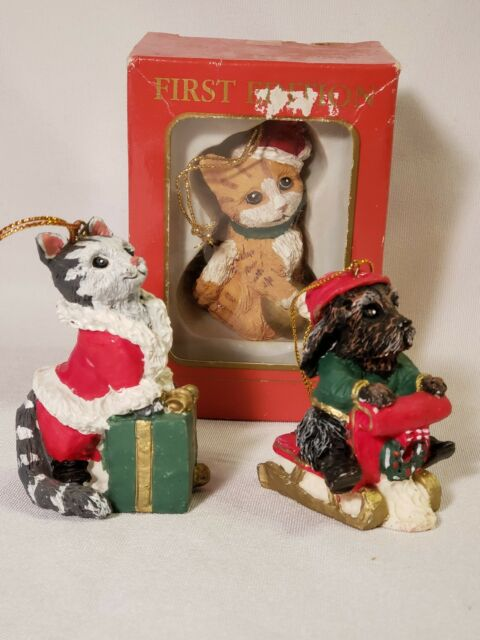 Vtg 90s Kurt Adler Christmas Ornament First Edition Resin Cats Dog Lot of 3