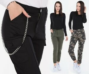 UTILITY-COMBAT-CARGO-TROUSERS-WOMENS-MILITARY-BERMUDA-CHAIN-CAMO-PANTS-6-TO-16