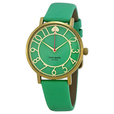 Kate Spade Metro Green Enamel Cut-out Dial Green Leather Ladies Watch 1YRU0401