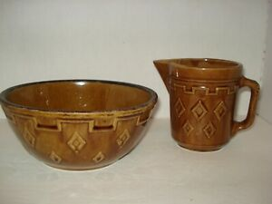 Vintage Brown Pitcher & Mixing Bowl with Diamond Pattern Stoneware Pottery