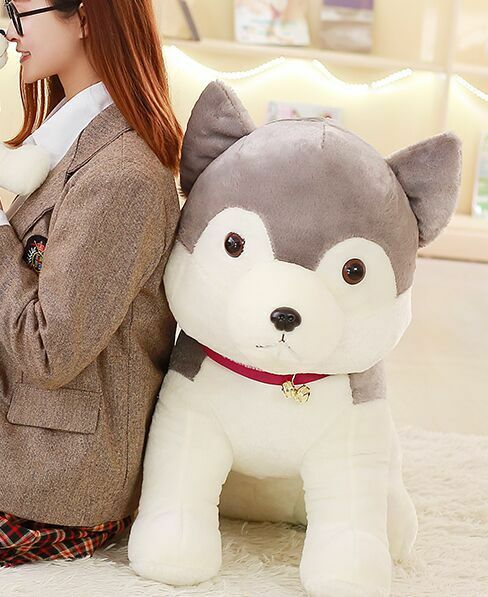 Huge lovely plush Husky toy new big Gris husky dog doll gift about 80cm