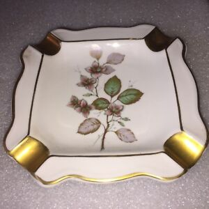 Bavaria Western Germany Porcelain Ashtray with Flower Design and Gold Trim #6826