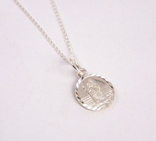 925 Sterling Silver Small 10mm Diamond Cut D//C ST Christopher Pendant B/'Day GIFT