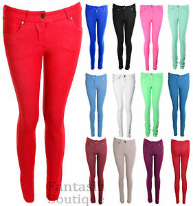 New-Ladies-Skinny-Fit-Coloured-Stretch-Jeans-Womens-Jeggings-8-14