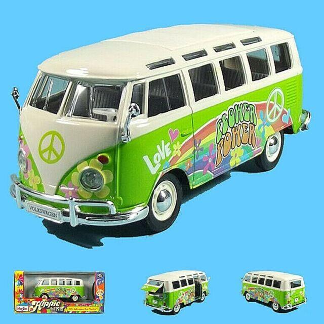VW Hippie Bus, T1 Samba, 1:25, Maisto Hippie Line, Grün