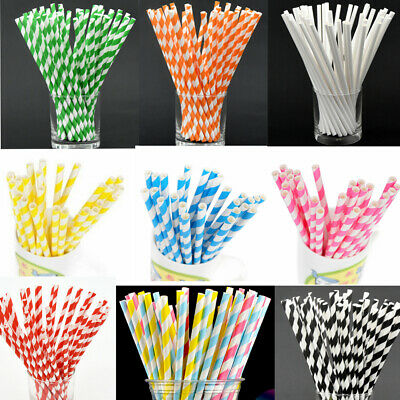 25xColor Striped Paper Drinking Straws Mixed Party Decorations Home Use