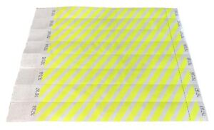 """100 Custom Printed Neon Yellow 1/"""" Tyvek Paper Wristbands for Events,Festivals"""