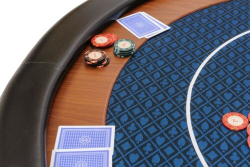 Riverboat Folding Poker Table Top in Blue Speed Cloth and Leather Armrest 120cm