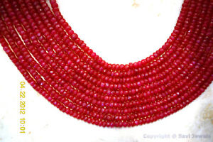 RUBY-3-4-5mm-Faceted-Rondelle-50-Precious-Gemstone-Beads-Select-A-Size-034-A-034
