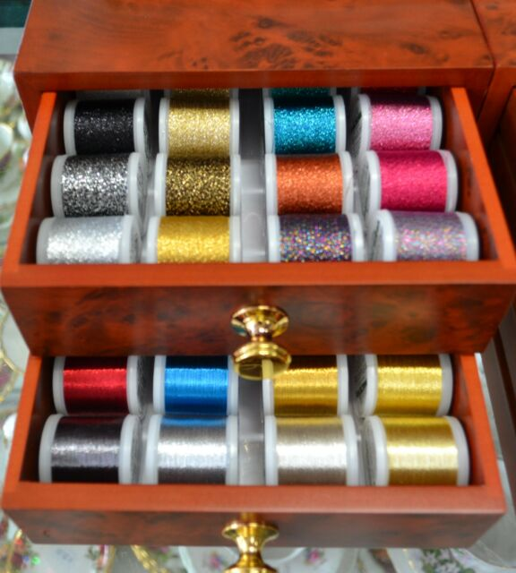 Madeira Mini Treasure Chest, 44 Spools Metallic Embroidery Threads in Drawers pl