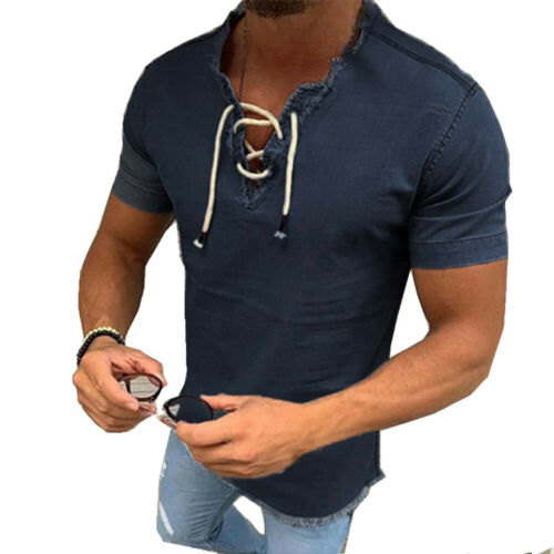 Men/'s Casual Shirt Tee Short Sleeve T-shirts Denim V-Neck Lace-up Fashion Tops