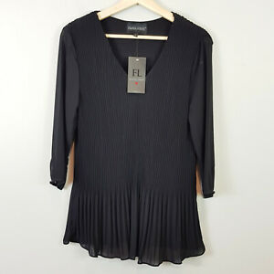 FRANK-LYMAN-Womens-Black-Pleated-Blouse-Top-NEW-Size-S-or-AU-10-US-6