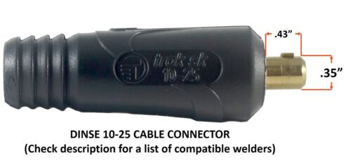 150 Amp Welding Leads SET Dinse 10-25 Connector #4 AWG Cable 15 FEET EACH LEAD