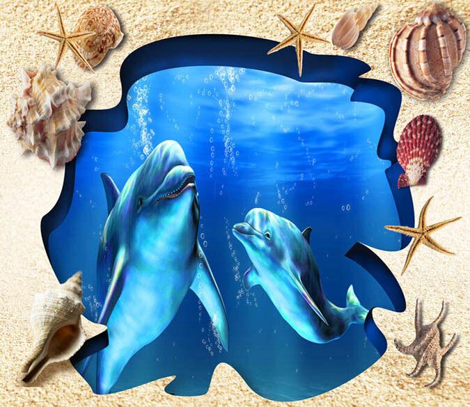 3D Sea Dolphin 5 Floor WallPaper Murals Wall Print Decal 5D AJ WALLPAPER