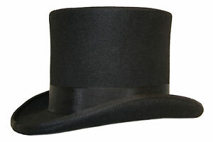 Quality-Hand-Made-Wedding-Ascot-Black-Felt-Top-Hat-100-Wool-Hand-Made-5-Sizes