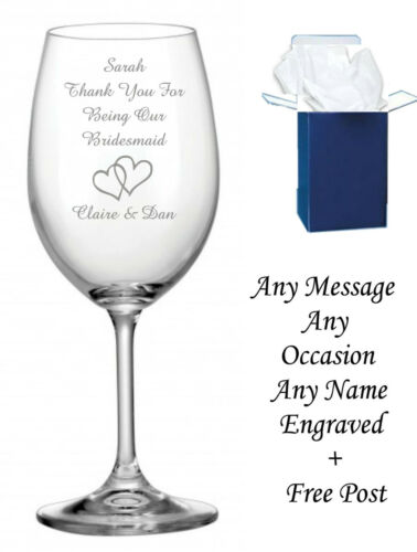 Personalised Engraved Wine Glass birthday wedding bridesmaid champagne wine #1