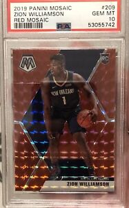 2019 Panini Mosaic Zion Williamson Rookie Red Mosaic Prizm #209 PSA 10 Gem Mint